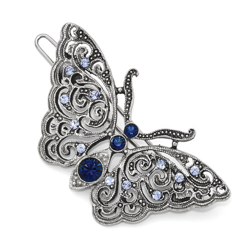 1928 Blue Crystal Butterfly Hair Barrette Silver-tone BF3017