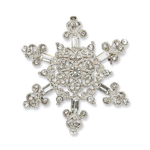 1928 Crystal Snowflake Pin Silver-tone BF729