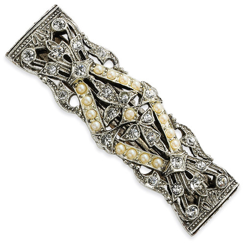1928 Crystal Stones and Acrylic Beads Barrette Silver-tone BF358