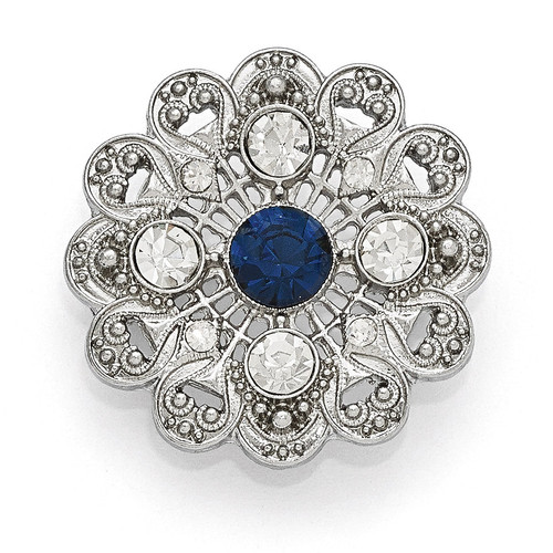 1928 Blue Crystal and Clear Glass Filigree Pin Silver-tone Downton Abbey BF2164