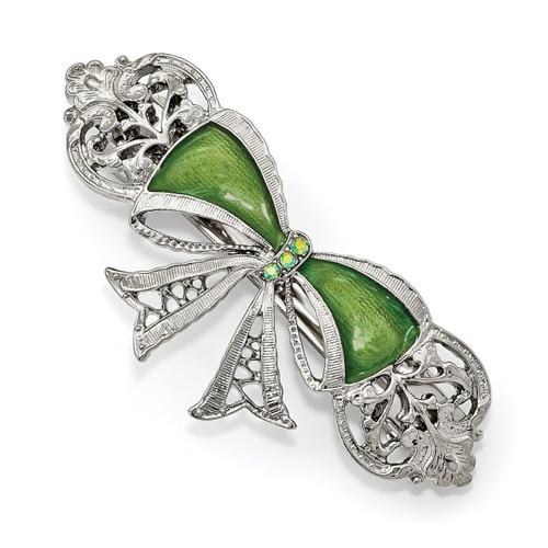 1928 Green Crystal and Enamel Bow Hair Barrette Silver-tone BF3040