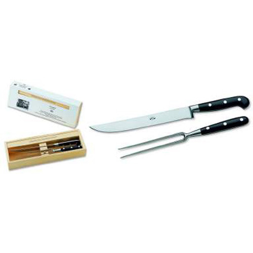 Berti Carving Set Knife Black Lucite Handle 558