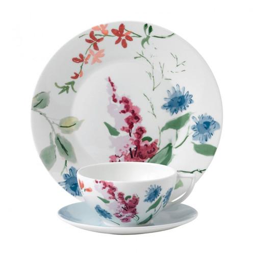 Wedgwood Jasper Conran Floral 3-Piece Set Cornflower Teacup Saucer and Plate 9 Inch