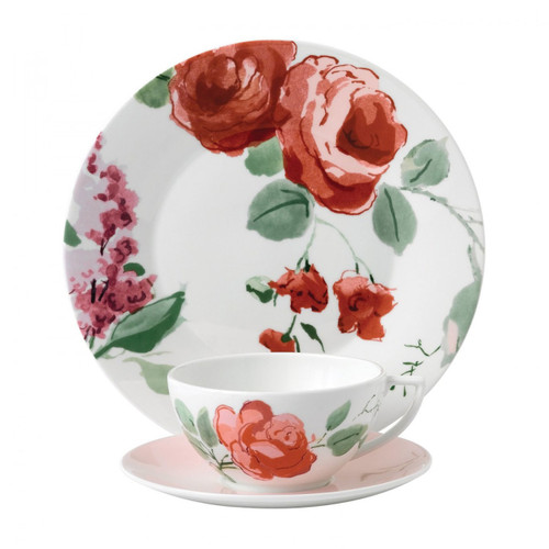 Wedgwood Jasper Conran Floral 3-Piece Set Rose Teacup Saucer and Plate 9 Inch