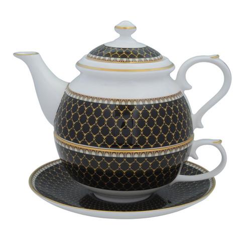 Halcyon Days Antler Trellis Tea set For One Black BCGAT02TOG