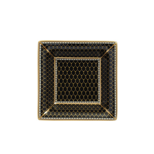 Halcyon Days Antler Trellis Square Tray Black