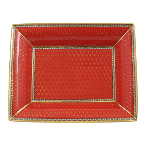 Halcyon Days Antler Trellis Trinket Tray Red