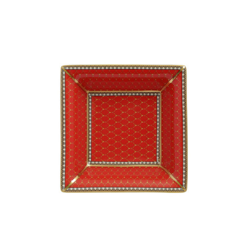 Halcyon Days Antler Trellis Square Tray Red