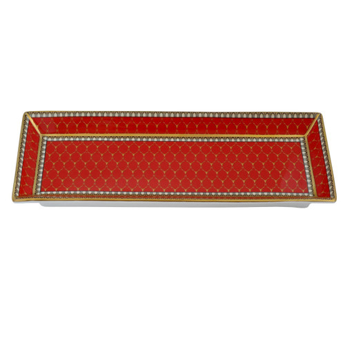 Halcyon Days Antler Trellis Rectangular Tray Red