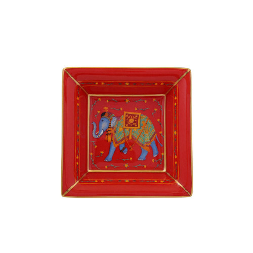 Halcyon Days Ceremonial Indian Elephant Square Tray Red