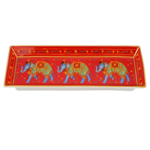 Halcyon Days Ceremonial Indian Elephant Rectangular Tray Red BCCIE06RTG
