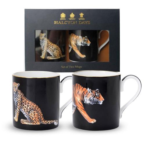Halcyon Days Tiger & Leopard Mug Gift Set