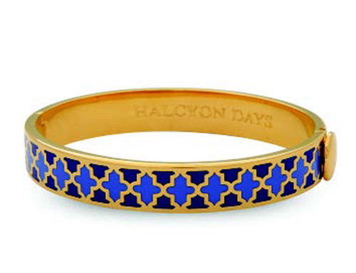 Halcyon Days Agama Deep Cobalt Bluebell Gold 1cm Hinged Bangle HBAGA181910G