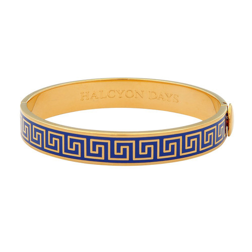 Halcyon Days Greek key Deep Cobalt Gold 1cm Hinged Bangle