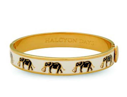Halcyon Days Elephant Cream Gold 1cm Hinged Motif Bangle