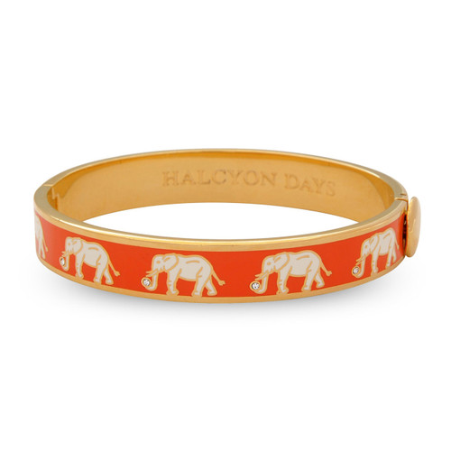 Halcyon Days Elephant Orange Gold 1cm Hinged Motif Bangle