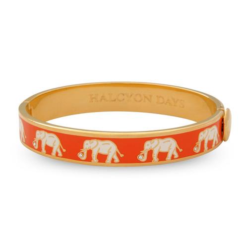 Halcyon Days Elephant Orange Gold 1cm Hinged Motif Bangle HBELE0710G
