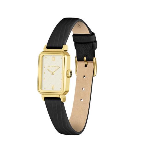 Halcyon Days Salamander Sport Leather Strap Watch Black Gold WTSSP02LEG