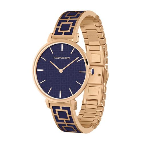 Halcyon Days Maya Bangle Watch Navy Rose Gold MPN: 350/W4018