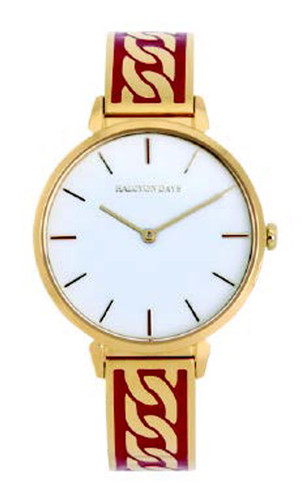 Halcyon Days Curb Chain Bangle Watch Red Gold MPN: 350/W4038
