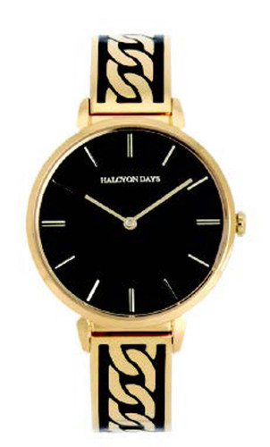 Halcyon Days Curb Chain Bangle Watch Black Gold MPN: 350/W4040
