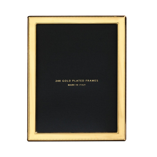 Cunill Bead 1/2 Inch Border 8 x 10 Inch Picture Frame - 24k Gold Plated 0.5 Microns