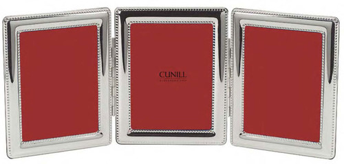 Cunill Beaded Triple 2 x 3 Inch Picture Frame - Silverplated