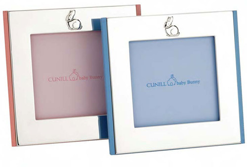 Cunill Bunny 4 x 4 Inch Blue Wood Picture Frames - Silverplated