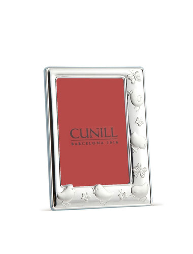 Cunill Chicks & Butterflies 4 x 6 Inch Picture Frame Pink back - Sterling Silver