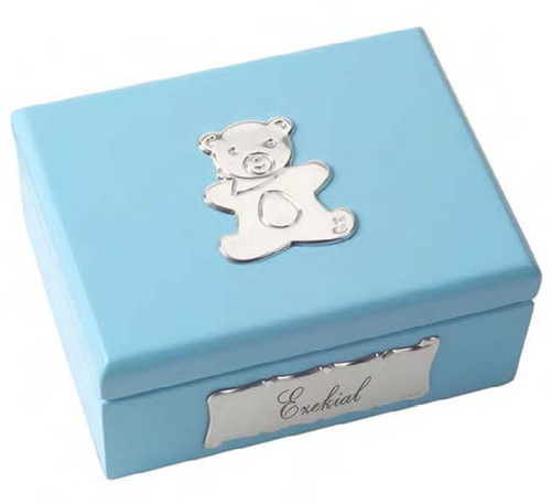 Cunill Lilac Teddy Bear Keepsake Box 3 x 4 Inch - Sterling Silver