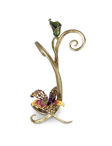 Jay Strongwater Mirabelle Flora Orchid Single Candlestick