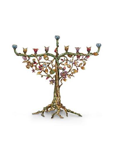 Jay Strongwater Solomon Jewel Floral & Vine Menorah