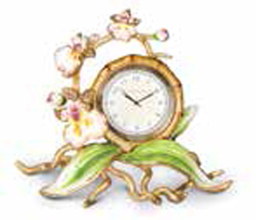 Jay Strongwater Tara Flora Orchid Clock
