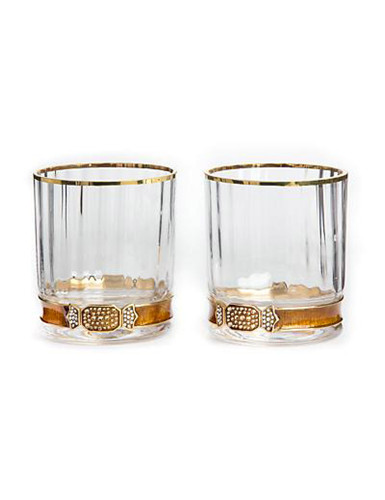 Jay Strongwater Hudson Amber Double Old Fashioned Glasses