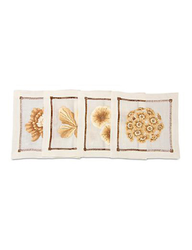 Jay Strongwater Golden Floral Cocktail Napkins Set of Four