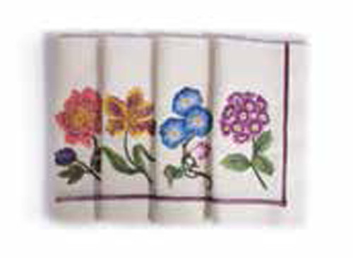 Jay Strongwater Flora Floral Dinner Napkins Set of Four