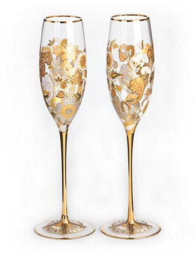 Jay Strongwater Isabelle Platinum Floral Vine Champagne Glasses Set of Two