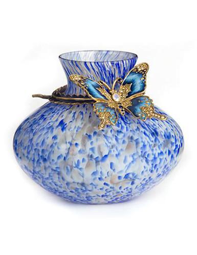 Jay Strongwater Lorelei Delft Garden Butterfly Vase
