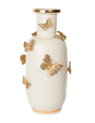 Jay Strongwater Heather Gold Porcelain RoundedButterfly Vase