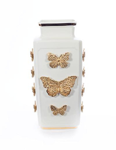 Jay Strongwater Myra Gold Porcelain RectangularButterfly Vase
