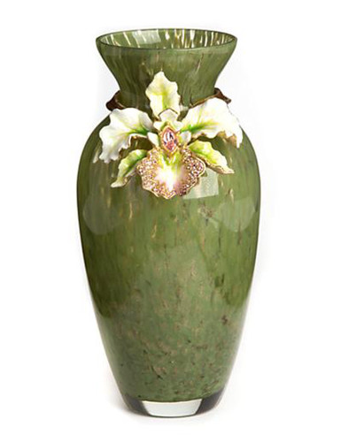 Jay Strongwater Loretta Leaf Orchid Vase