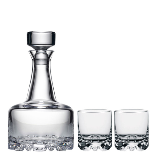 Orrefors Erik 3 Piece Set 2 Dof Double Old Fashioned & Decanter