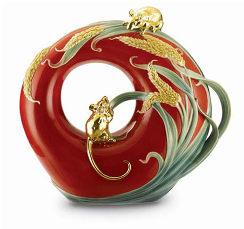 Franz Porcelain Vase Mouse Red FZ01903