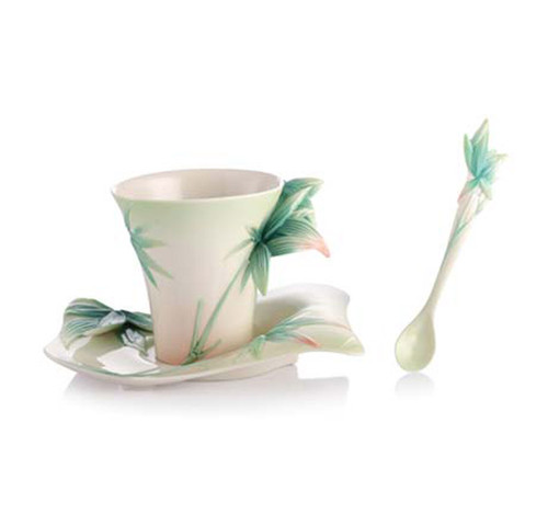 Franz Porcelain Tea Cup Saucer Spoon Four Seasons Bamboo FZ02923