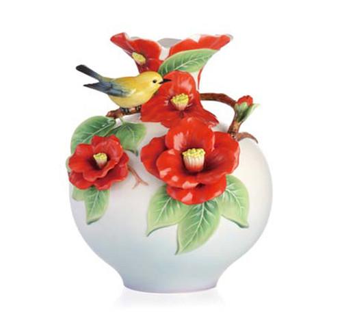 Franz Porcelain Vase Warbler & Camellia FZ02948