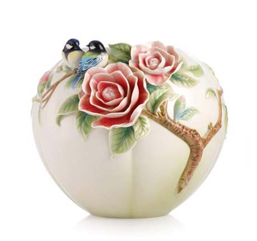Franz Porcelain Vase Chickadee Camellia FZ02972