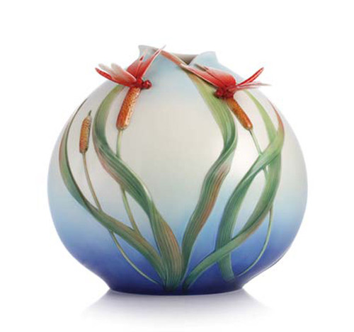 Franz Porcelain Vase Red Dragonfly FZ03064