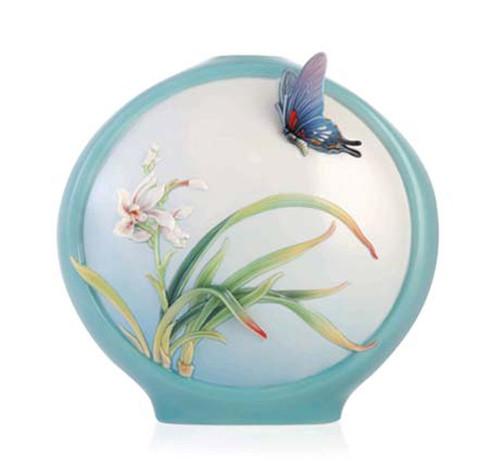 Franz Porcelain Vase Boat Orchids Butterfly FZ03354