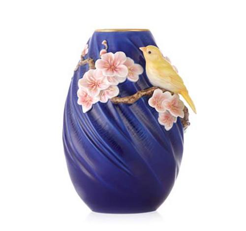 Franz Porcelain Vase Plum Blossom Canary FZ03381