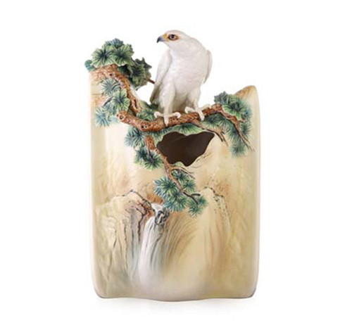 Franz Porcelain Vase White Falcon Limited Edition FZ03457